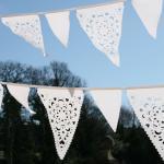 White lace Wedding bunting, White v..
