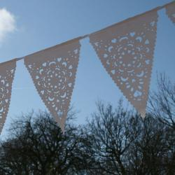 Lace fabric garland, White vintage style bunting